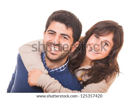 Young Man Giving a Piggyback to His Girlfriend - stock photo