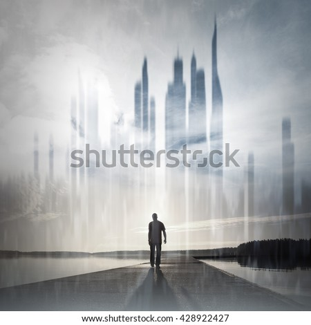 Young man goes on the pier to the ghost town, conceptual collage photo
