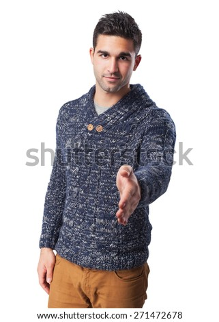 young man greeting gesture - stock photo