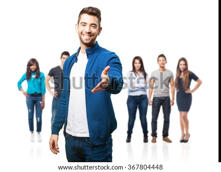 young man greeting on white - stock photo