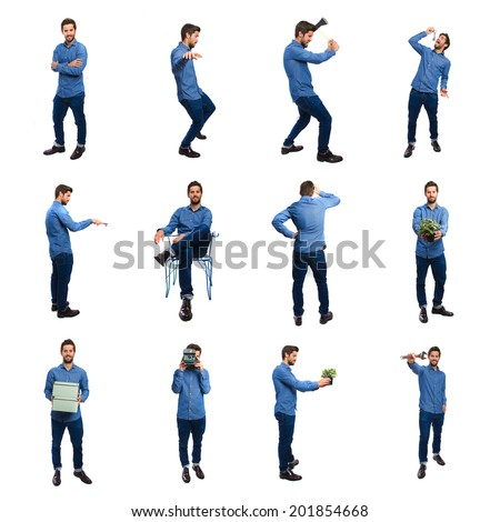 young man group with objects - stock photo