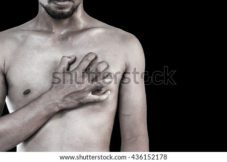 Young man having chest pain, Heart attack. (Vintage style) - stock photo