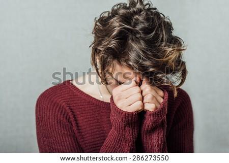 Young man having depression - stock photo