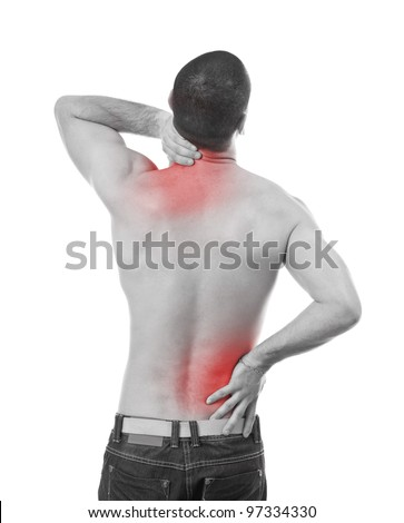 Young man having pain in his neck and back, monochrome photo with red as a symbol for the hardening - stock photo