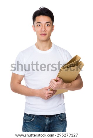 Young man hold with folder