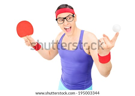 Young man holding a ball and a ping pong bat isolated on white background - stock photo