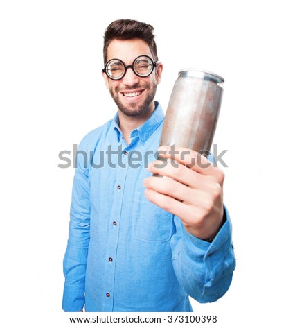 young man holding a beer on white - stock photo