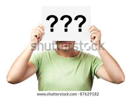 young man holding a billboard with question marks isolated on white background - stock photo
