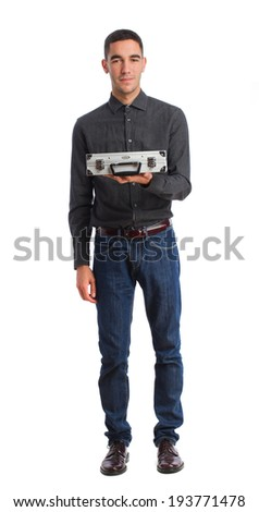 young man holding a briefcase