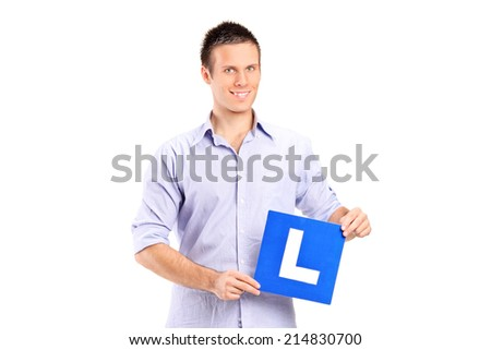Young man holding a L sign isolated on white background - stock photo