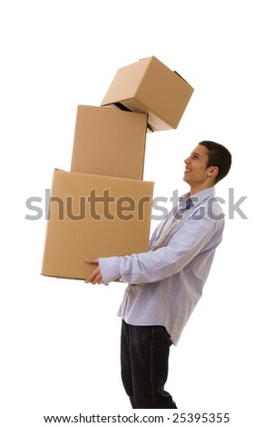 young man holding a stack of package parcels (isolated on white)