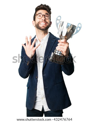 young man holding a trophy