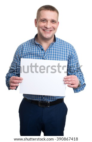 young man holding a white blank board. advertising blank banner - stock photo