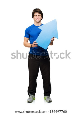 Young Man Holding An Arrow Isolated On White Background - stock photo