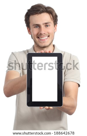 Young man holding and showing a blank tablet display app isolated on a white background                 - stock photo