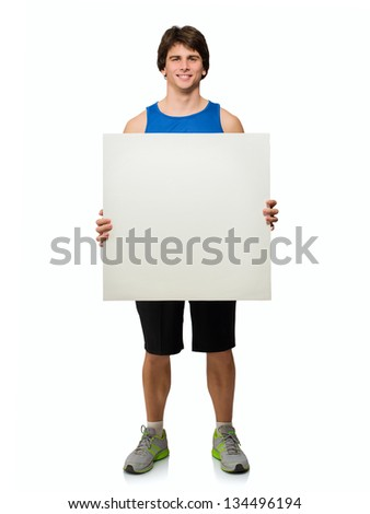 Young Man Holding Blank Placard Isolated On White Background - stock photo