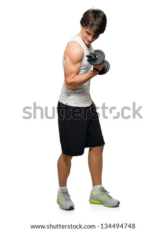 Young Man Holding Exercise Equipment Isolated On White Background - stock photo