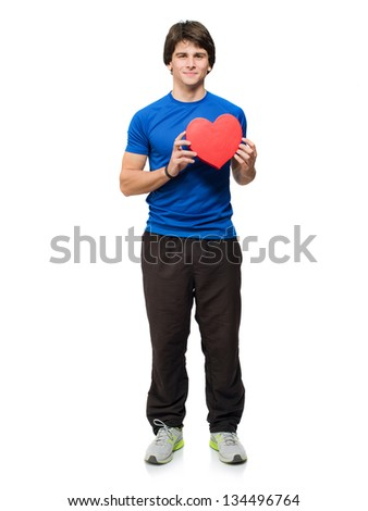 Young Man Holding Heart Shape Sign Isolated On White Background - stock photo