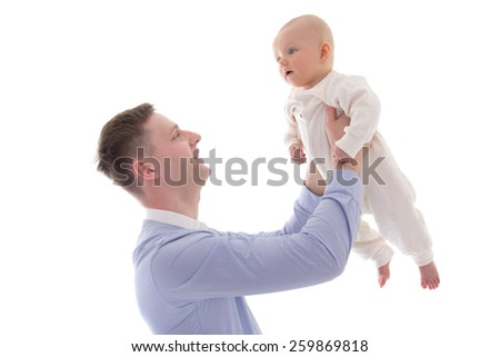 young man holding his little son isolated on white background