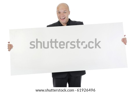 young man holding large blank. Isolated on white background