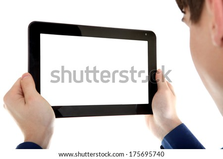 Young Man holding Tablet Computer with Empty screen Isolated on the White Background - stock photo