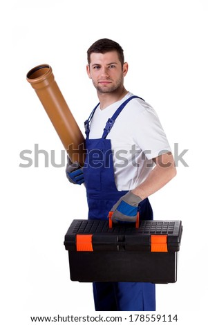 Young man holding toolbox and gutter wearing protective gloves - stock photo