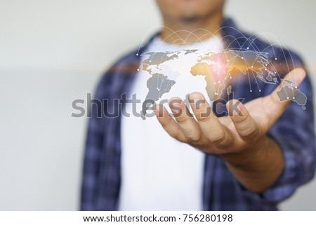 Young man holding world map symbol. social network concept