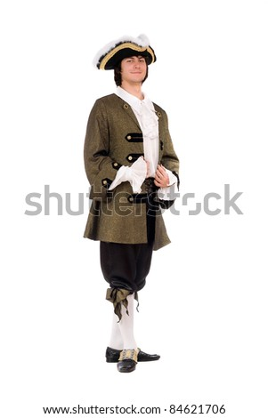 Young man in a historical costume. Isolated