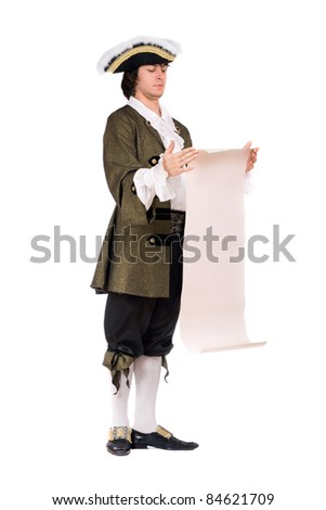 Young man in a historical costume read the decree