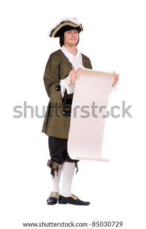 Young man in a historical costume read the decree. Isolated