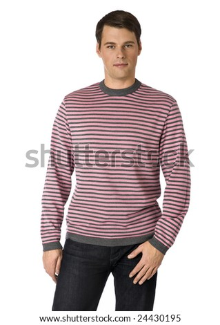 young man in a pink sweater on a white background