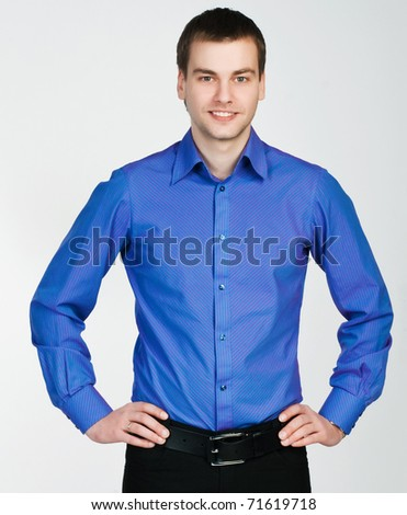 young man in a purple shirt