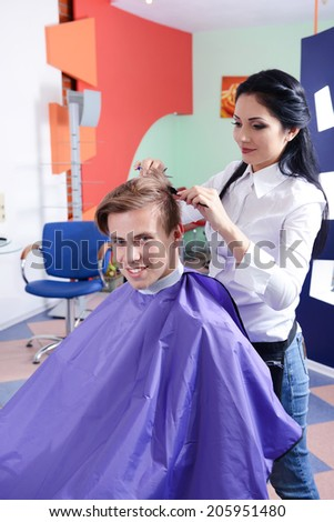 Young man in beauty salon