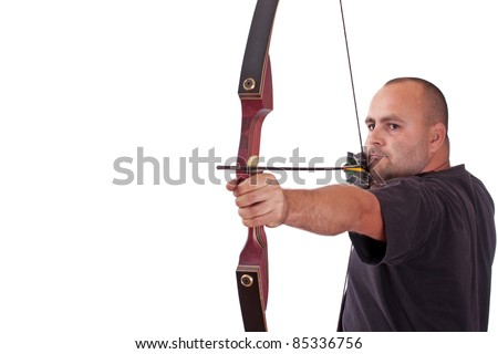 Young man in black shirt holding bow and shooting to target isolated in white - stock photo