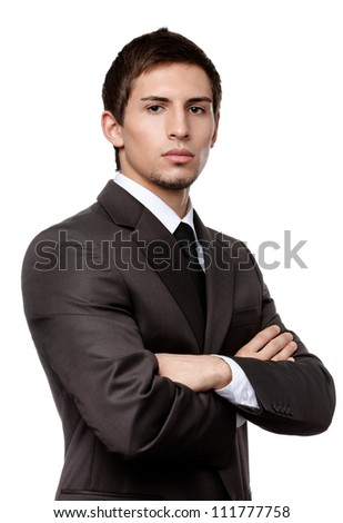 Young man in black suit, isolated on white background - stock photo