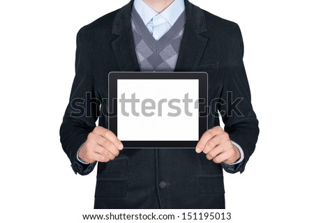 Young man in black suit showing modern digital tablet with blank screen. Isolated on white background