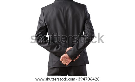 Young man in black suit standing back view, portrait business man project isolated on white background, wide screen shot