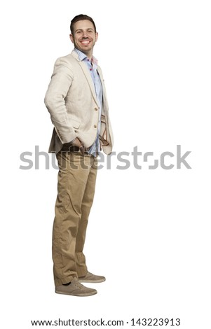 Young man in blazer looking confident against white background