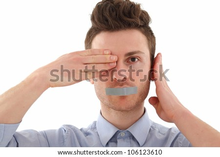 Young man in blue shirt censored with tape - stock photo