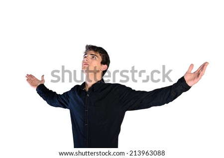 young man in casual clothes on white background - stock photo