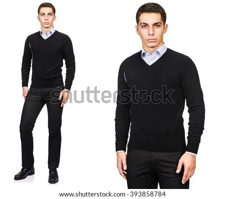 Young man in fashion concept isolated on white - stock photo