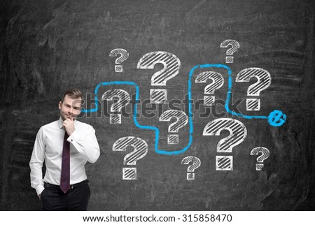 Young man in formal white shirt holds his chin and thinks about unsolved problems. Question marks are drawn on the black chalkboard and a blue trap as a solution of the brainstorm. - stock photo