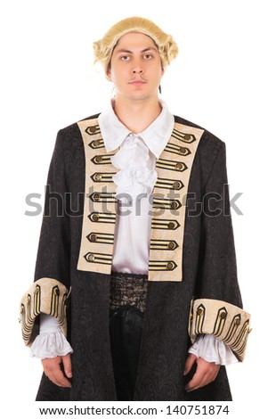 Young man in medieval costume and wig. Isolated on white  - stock photo