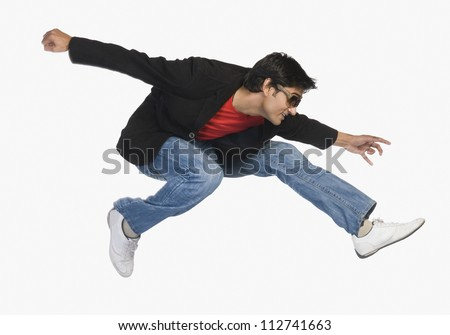 Young man in mid-air