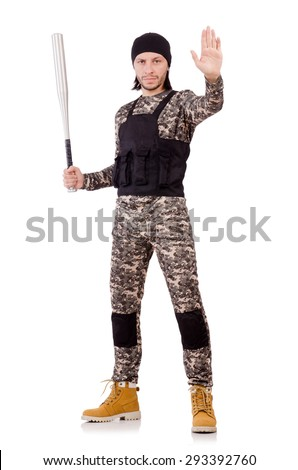 Young man in military uniform holding bat isolated on white - stock photo