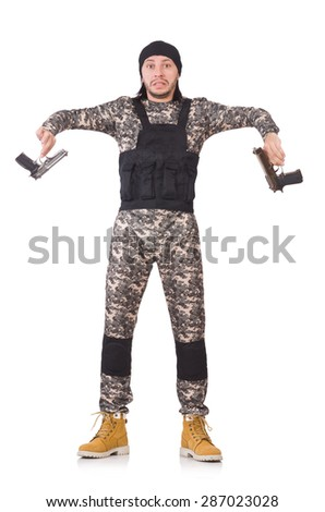 Young man in military uniform holding gun isolated on white - stock photo