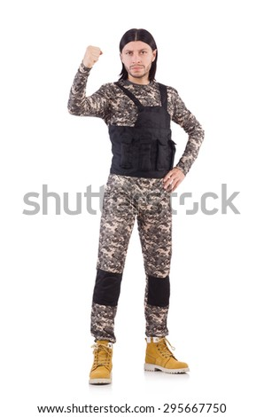 Young man in military uniform isolated on white - stock photo