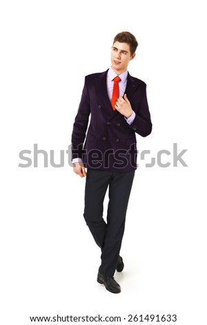 Young man in modern suit isolated on white