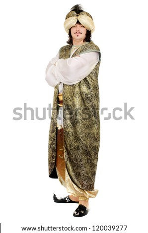 Young man in oriental costume. Isolated on white
