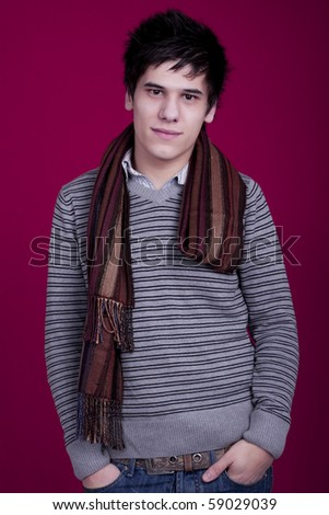 young man in pink background